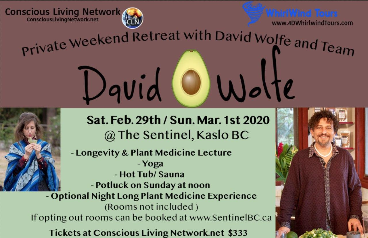 """Private Weekend Retreat  with David """"Avocado"""" Wolfe and Team"""